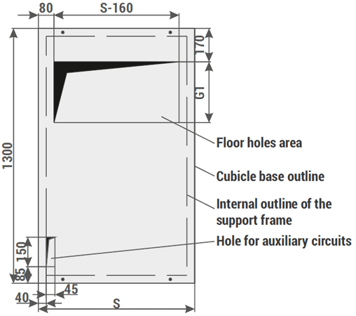 figure 6c exemplary foundation base dimensions of the cubicle and flooring fixing holes for relf ex bays