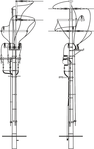 Pole Overhead Line Structures : Concrete poles and construction of the overhead power