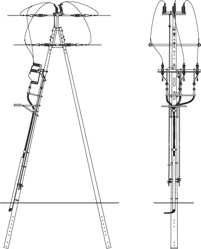 Concrete poles and construction of the overhead power lines
